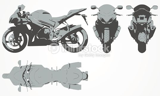Clipart vectoriel : Front, top, back and side chopper projection