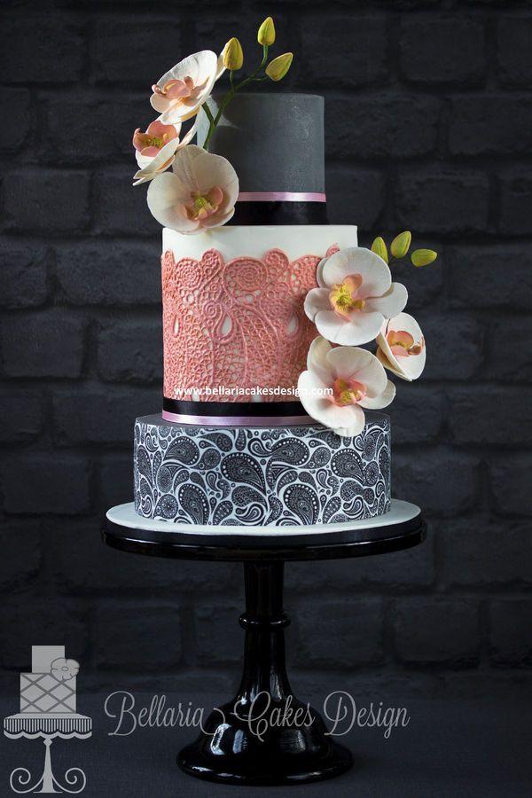 Paisley, Lace, Flowers Cake