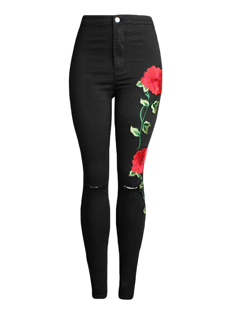 Black Cut-Out Knees Floral Embroidery Skinny Jeans_Butt Lifting Skinny Jeans_Women Jeans_Sexy Lingeire | Cheap Plus Size Lingerie At Wholesale Price | Feelovely.com