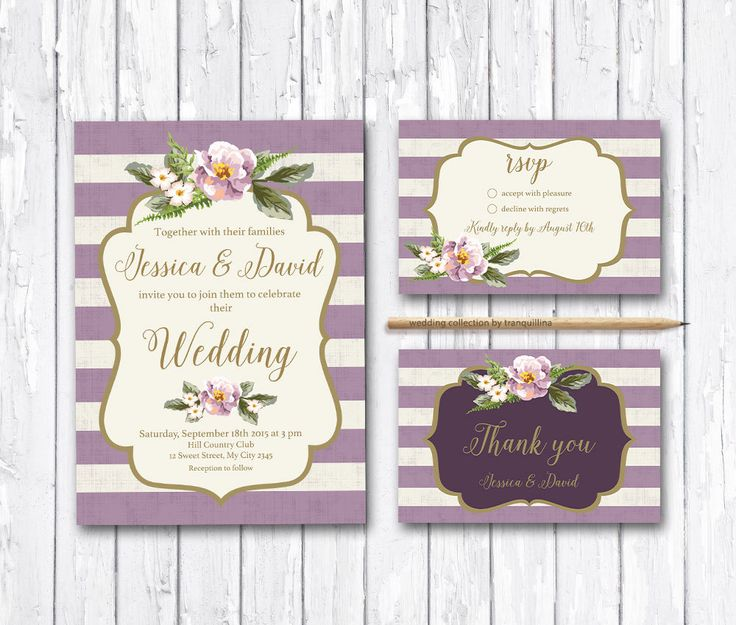 Floral Wedding Invitation Printable, Wedding Invitation Suite, Digital File - Gold & Lilac Striped Wedding Invite - pinned by pin4etsy.com