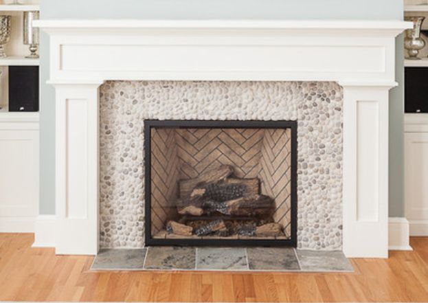 Pebble Tile Surround For Fireplace And Mantle Style New