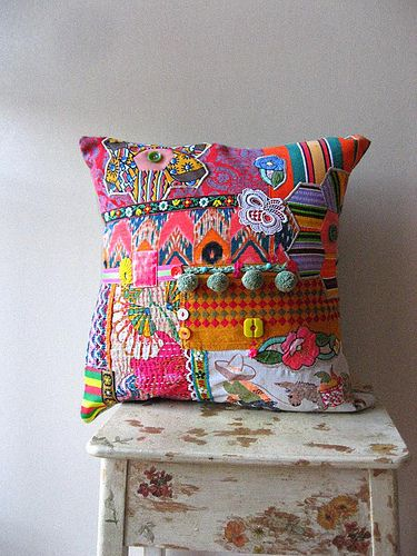Patchwork mosaic pillow. I have a ton of scraps and trims and whatnot that need a home- why not one fantastic ticky-tacky pillow?