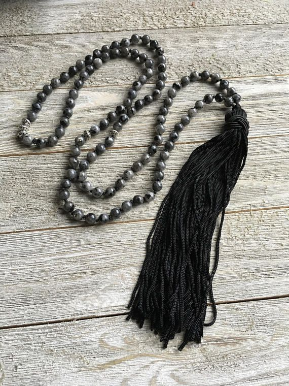 Labradorite Hand Knotted Mala Necklace 108 Beads Mala