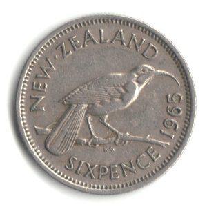 1965 New Zealand Sixpence Coin Km#26.2 - Huia Bird http://amzn.to/28VwVzf