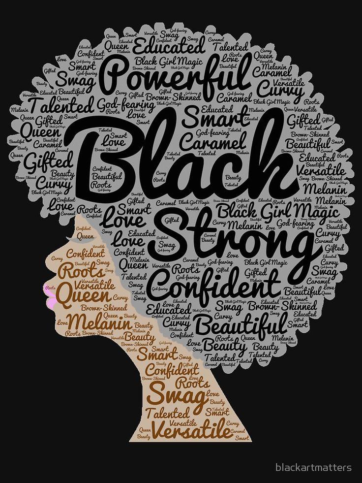 Black Woman Natural Hair Words In Afro By Blackartmatters