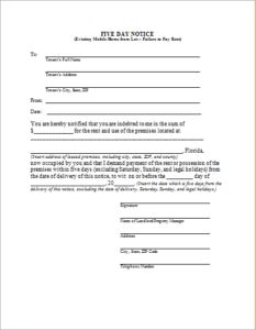 Five Day Eviction Notice DOWNLOAD at http://www.templateinn.com/8-legal-property-eviction-notices/