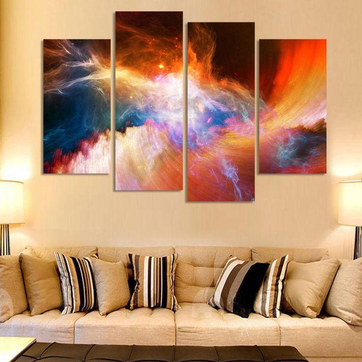 Pas cher 4 pièce grande toile art pas cher abstraite moderne pourpre photos peinture paysage de