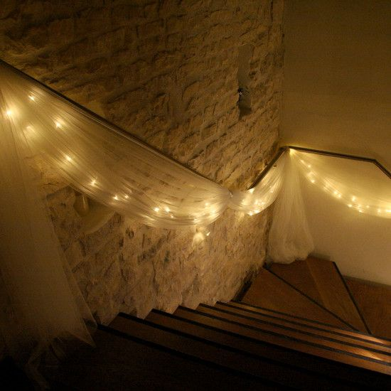 Warm White Battery Operated Fairy Lights from Lights4fun.....to lead downstairs hang out room? @Nichole Radman Radman Prickett