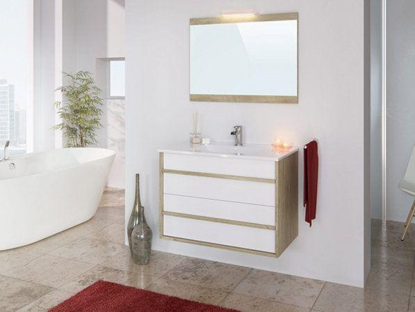 Meuble De Salle De Bain 80 Cm Koh Tao Blanc Et Chene Meuble De Salle De Bain But In 2020 Bathroom Design Layout Bathrooms Remodel Bathroom