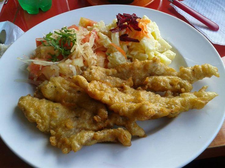 Pescado frito con ensalada a la chilena y papas mayo, Coquimbo - CHILE