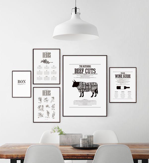 Poster / print styckningsschema med ko delar. Beef cuts, tavlor och planscher till kök