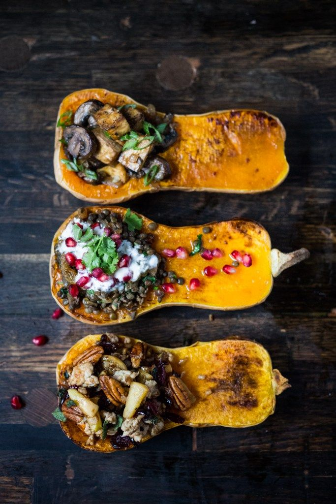Stuffed Butternut - Three ways: Miso Sesame Mushroom & Tofu/ Lentils Yogurt & Pomegranate/ Thanksgiving