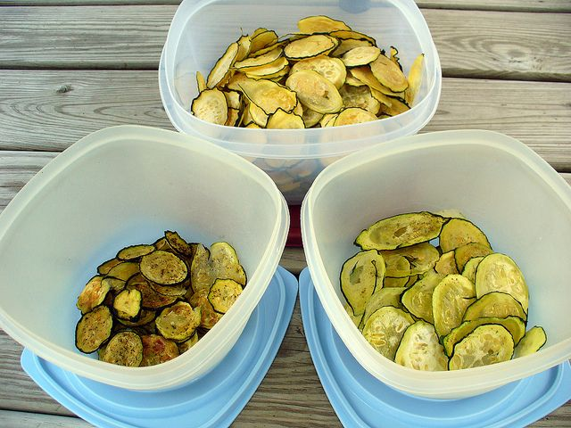 Dehydrated Zucchini Chips - several flavor combos.