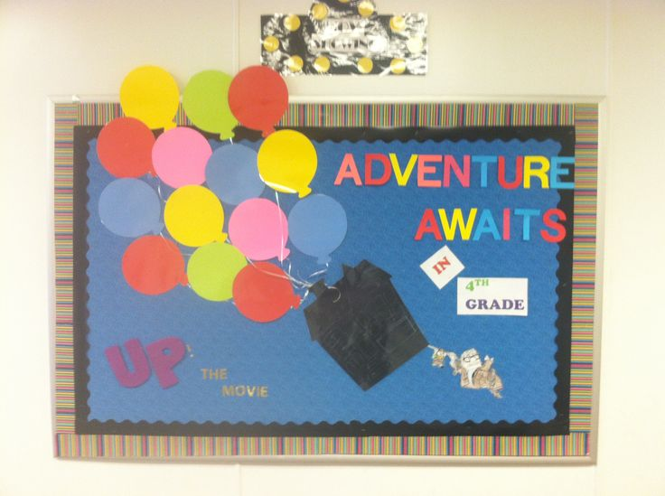 """UP"" the movie bulletin board for our movie theme for back to school."