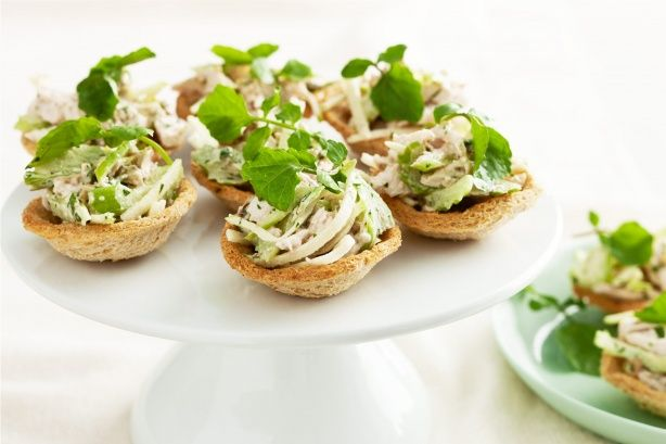 Enjoy this bite-size version of a classic waldorf salad at your next party.