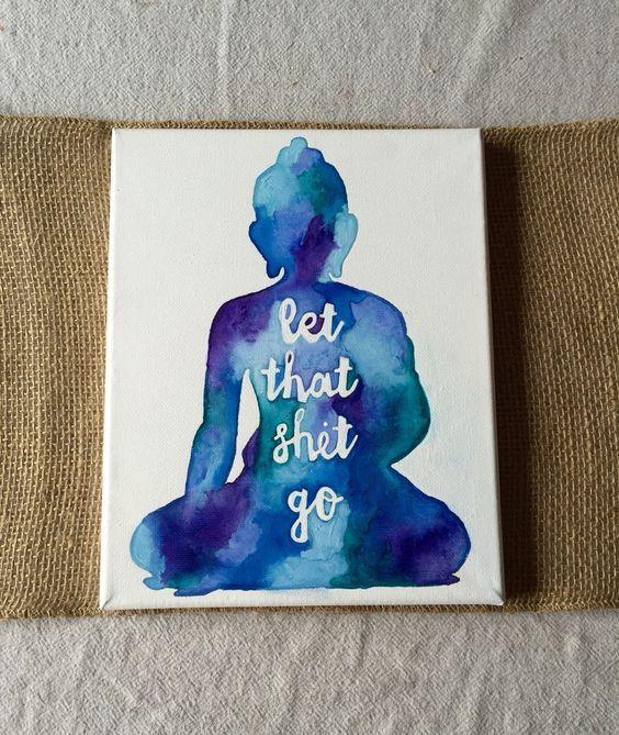 Canvas Aquarell Buddha Lasst Die Scheiße Gehen Von THUDart Auf Etsy (Cool  Bedrooms Boho)