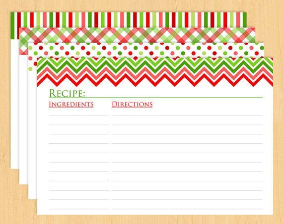 Christmas Recipe Card Template Christmas Printable Recipe Cards 6x4 Editable And Recipe Cards Template Christmas Recipe Cards Printable Recipe Cards