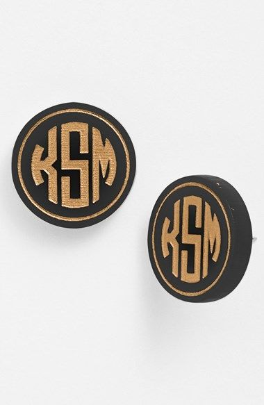 Monogrammed stud earrings - Great gift idea - comes in an array of colors!