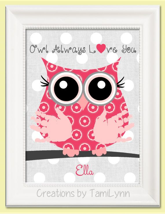Pink Flower Owl Baby Handprint Art - Owl Always Love You - Personalized Baby Nursery, Child's Room, Parent, Grandparent Gift
