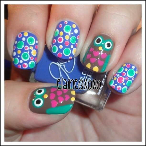 fantastic! so much detail | polka dot + owls nail art #nails - Best 25+ Owl Nail Designs Ideas Only On Pinterest Owl Nail Art