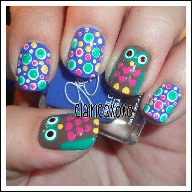 fantastic! so much detail   polka dot + owls nail art #nails
