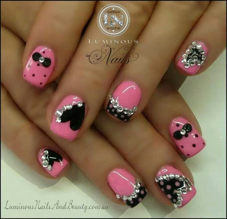 Pink And Black With Rhinestones Nail Art