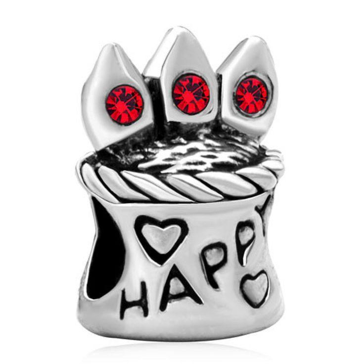 Red Swarovski Crystal Happy Birthday Cake Bead Charms Pandora Chamilia Compatible | Charmsstory.com #birthday #charms #pandora #beads #swarovski #happybirthday #crystal