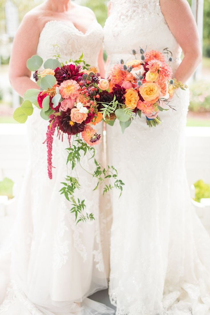 Autumn Colored Wedding in North Carolina- colorful bridal bouquets- wedding gowns