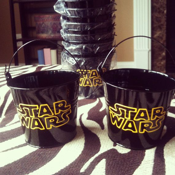 star wars childrens party favor buckets treat bag with your choice of logo - Star Wars Party Decorations