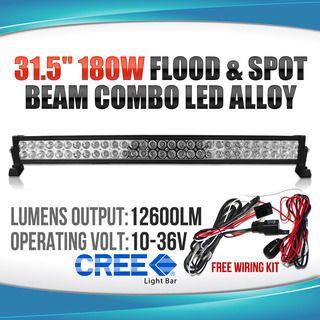 "31.5"" 180W CREE LED LIGHT BAR FLOOD SPOT ALLOY WORK LIGHT 4WD BOAT UTE DRIVING"