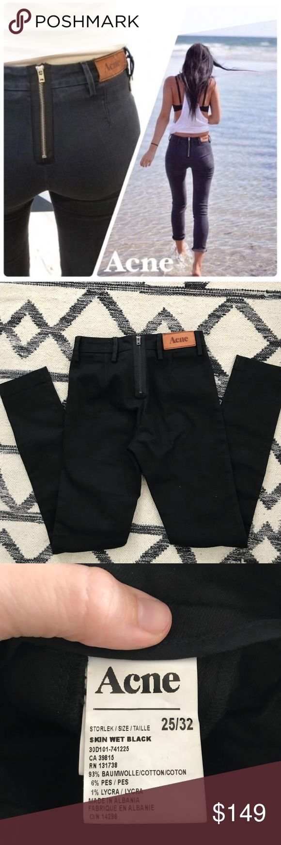 """Acne Rocca Jeans in Skin Wet Black Coolest back zip acne jeans in like new condition just could scratches on the leather patch are only signs of wear. Inseam is 32"""" and rise of 9"""". Offers and questions welcome! Acne Jeans Skinny"""