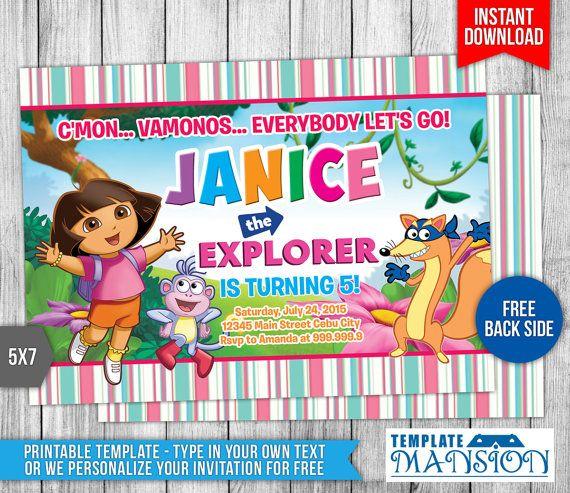 Dora the Explorer Invitation Dora the Explorer by TemplateMansion
