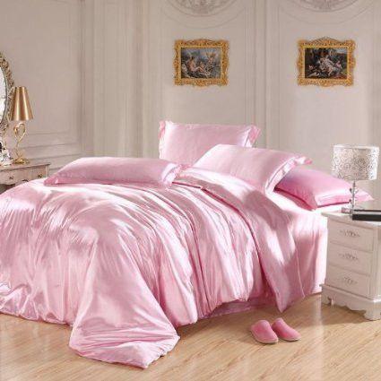 Pink Bedding Sets,Grey Bedding Sets,Silk Bedding Set Luxury,Queen Size Bed Set,4Pcs