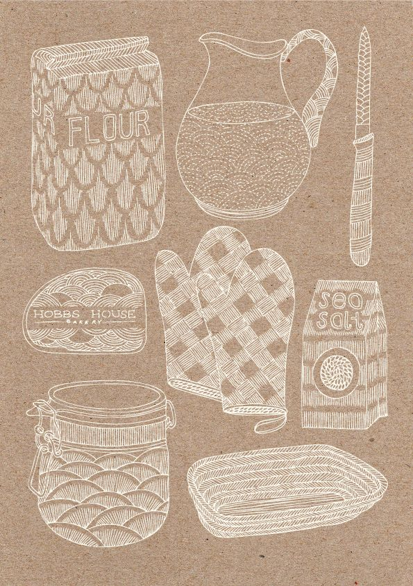 illustration : ustensiles de cuisine, recette, blanc - brun pâle