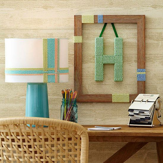 #twine #wallart via @bhg - I love the idea of wrapping items in baker's twine (or jute or ribbon or #washi!) and creating art! How about you - what would YOU wrap? #