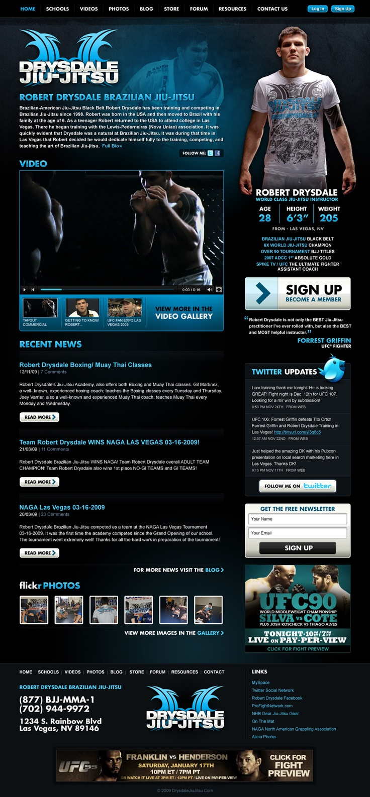 Drysdale Jiu-Jitsu • Robert Drysdale is an accomplished Brazilian Jiu-Jitsu Black Belt World Champion and was an Assistant Coach on Season 8 of Spike TV's UFC The Ultimate Fighter. I handled the art direction and design for Robert's official website that provided viewers with the latest news along with the opportunity to watch online training videos.    This design for Drysdale Jiu-Jitsu was featured on a number of css gallery sites.
