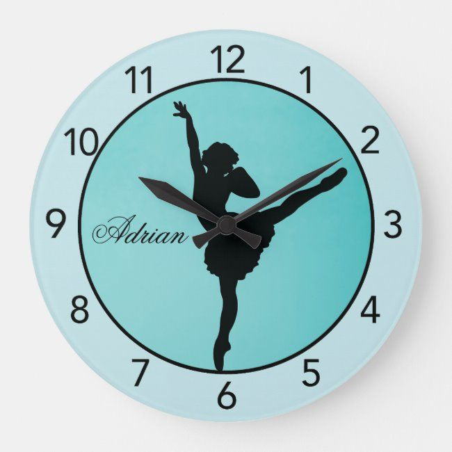 Turquoise Ballerina Personalized Wall Clock Zazzle Com In 2020 Clock Wall Ballerina