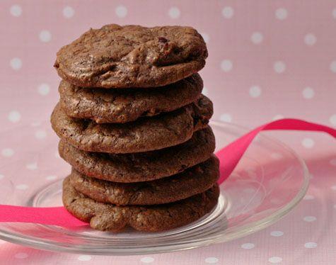 double chocolate cherry truffle cookies