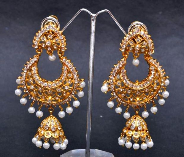 Pakistani Gold Plated Jhumka Designer Earrings With Silver