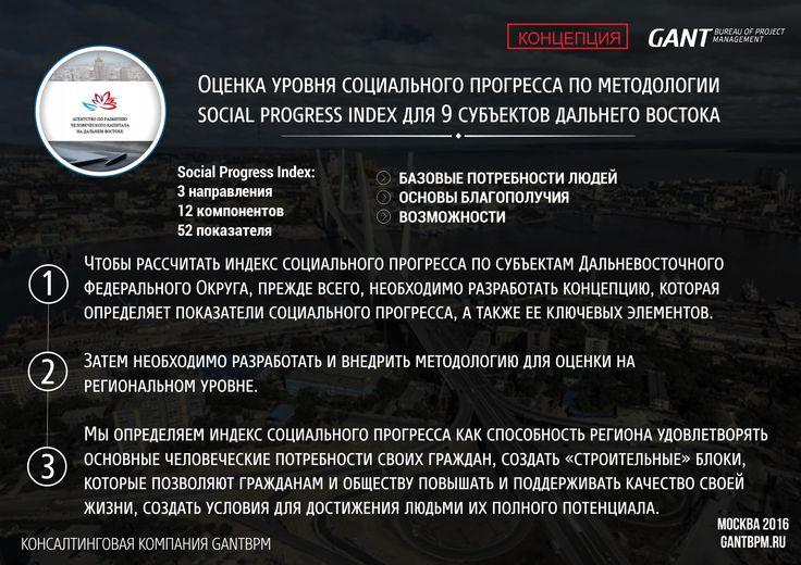 Индекс социального развития. https://gantbpm.ru/proekty/indeks-socialnogo-razvitiya/  Консалтинговая компания «GANTBPM» готовится к проведению масштабной работы по оценке уровня социального прогресса в Дальневосточном округе. В работе будут задействованы девять регионов округа. Специалисты компании для достижения положительного результата используют метод «Social Progress Index».  Метод «Social Progress Index», который в дальнейшем будет использован сотрудниками компании, проводит анализ…
