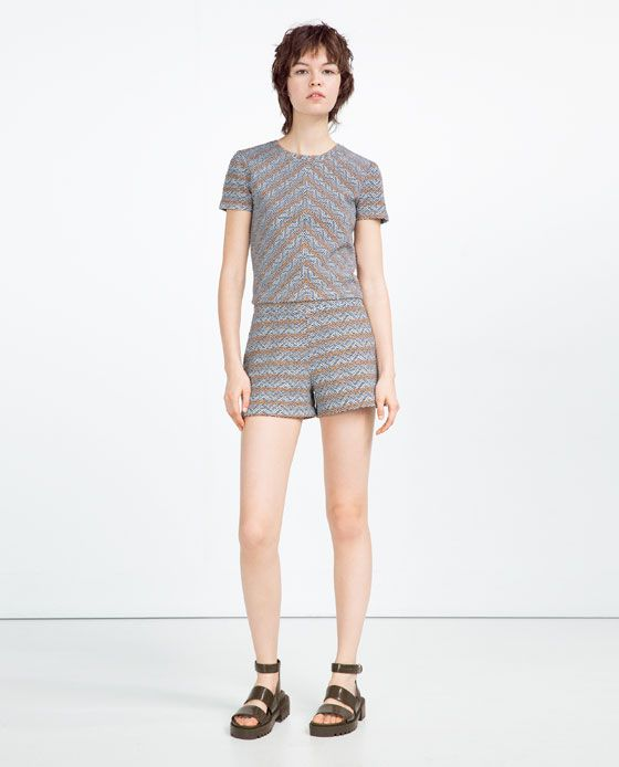 Image 1 of PRINTED HIGH WAIST SHORTS from Zara