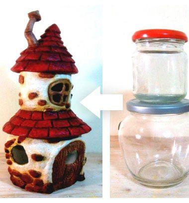 DIY Fairy house with attic using two mason jars - recycle // Gomba alakú manó házikó padlástérrel befőttes üvegekből // Mindy - craft tutorial collection