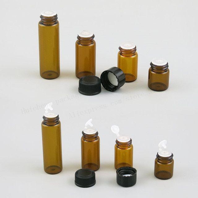 d25d0d14db53 100 X 1ml 2ml 3ml 5ml Mini Amber Glass Essential Oil Bottle Orifice ...