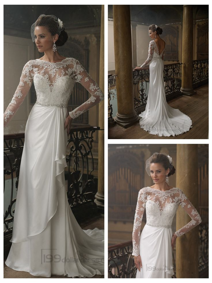Sheath Bateau Neckline Ruffled V-back Wedding Dresses with Lace Long Sleeves
