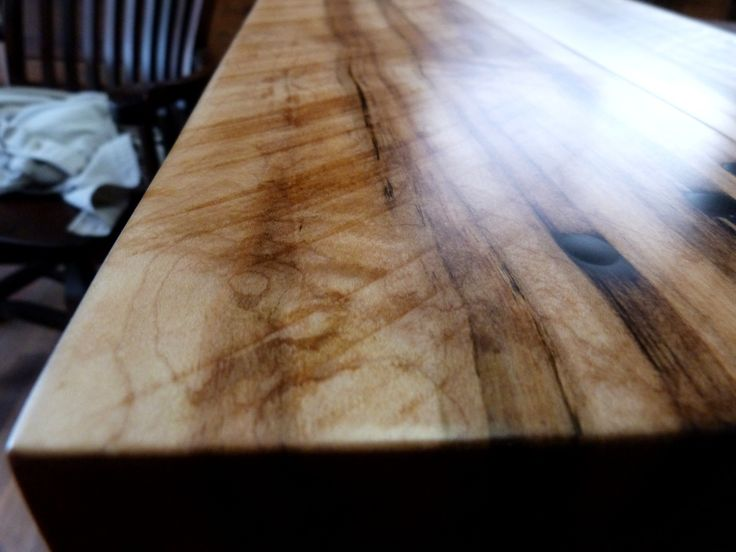 Matte Epoxy Finish On Sugar Maple Harvest Table Top