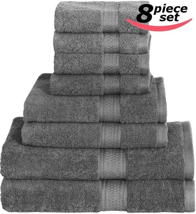NEW Cotton Bath Towel Set Gray Soft Durable Bathing Bathroom Hand Towels 8-Piece #1