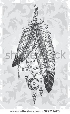 Two feathers tattoo with pendants in the form of crystals and crescent style Dotwork on a patterned background - stock vector