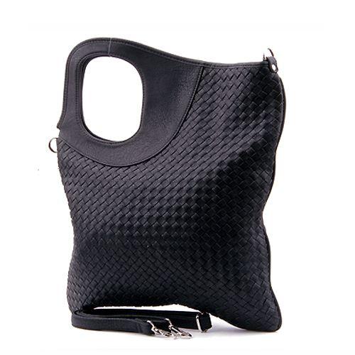 Black Leather Tote, Black Leather Handbag, Geometric Handbag,