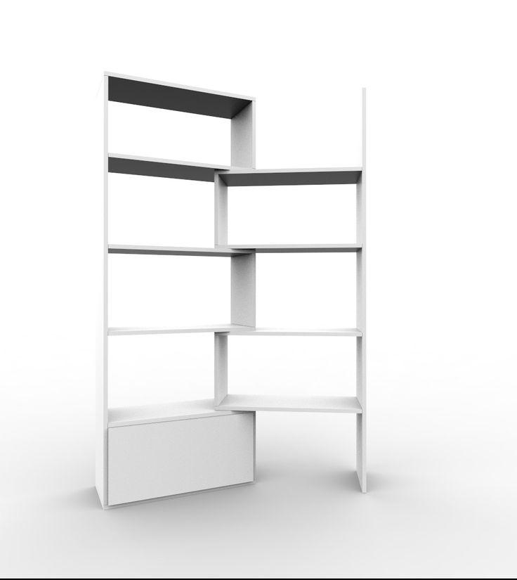 Regał rozsuwany biały styl nowoczesny PACO