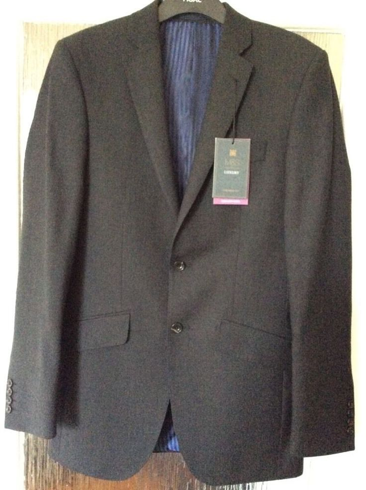 M&S LUXURY COLLECTION Tailored Fit 100%PURE NEW WOOL man jacket UK36 Long BNWT | eBay